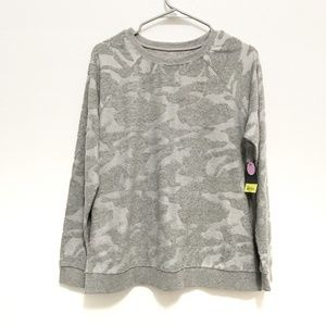 Xersion Solid Gray Camouflage Burnout Sweatshirt